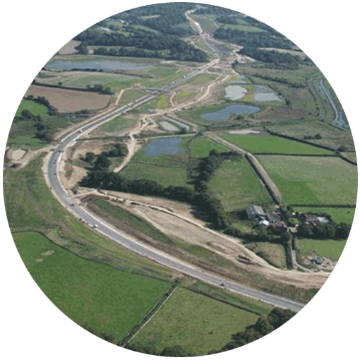Aerial photo of the A258 in Kent