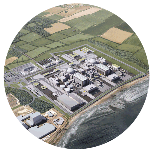 Artist's impression of an aerial overview of Hinkley Point C power station
