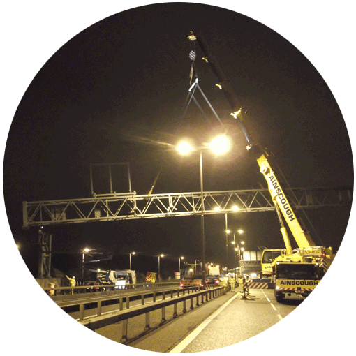 Photo of a gantry being lifted into place at the M4 M5 juction