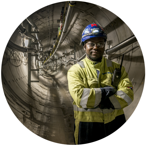 Photo of a worker standing in National Grid's London Power Tunnels project