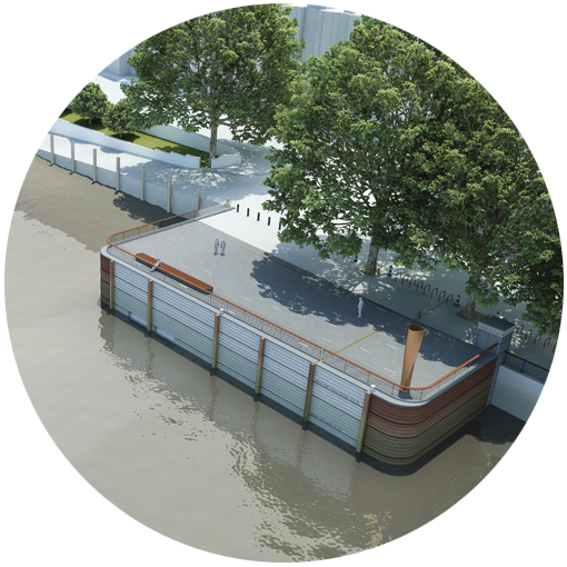 Artist's impression of a planned embankment on the River Thames as part of the Thames Tideway super sewer project