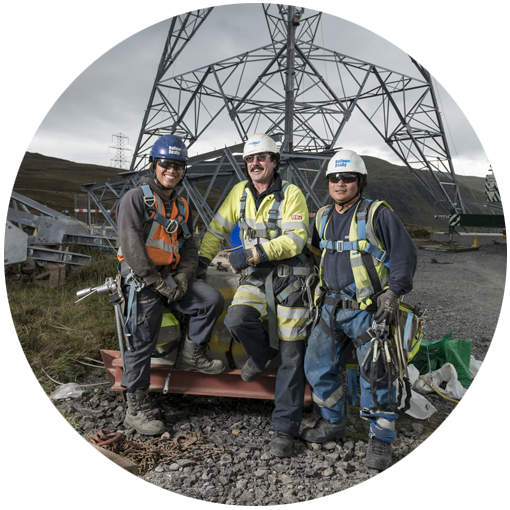 Photo of workers on the Beauly-Denny replacement electricity transmission line contract