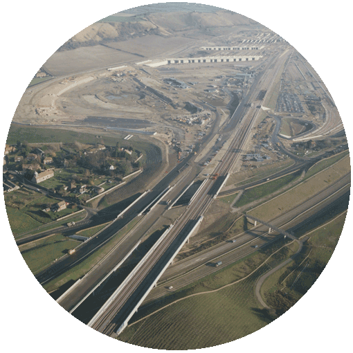 Aerial photo of the High Speed 1 railway in Kent