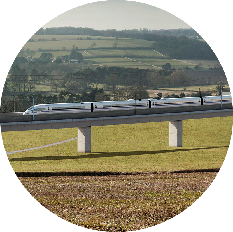 Artist's impression of a High Speed 2 viaduct